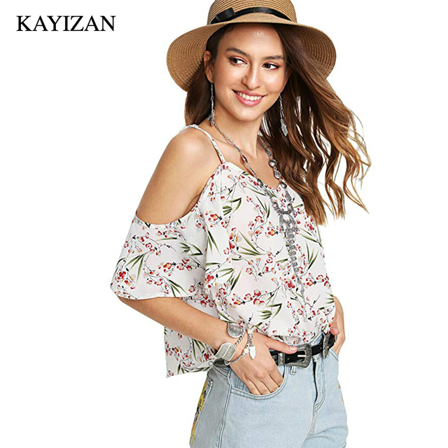 bc5c92626ca6e3 KAYIZAN Women Plus Size Short Sleeve Floral Print Cold Shoulder Blouse Top  Ruffle Sleeves Bohemian Blouse with Spaghetti Straps