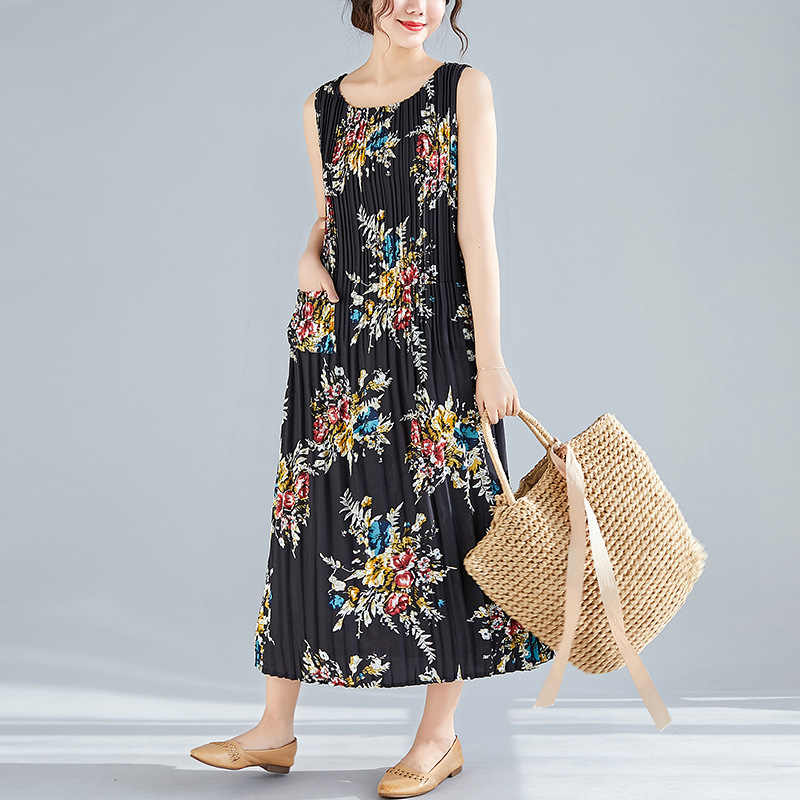 880c3cb429 Summer Dresses Women Floral Print Stretch Pleated Wild Plus Size Vintage  Tank Dress Female Lady Fashion