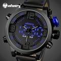 INFANTRY Luxury Brand LED Digital Men Quartz Watch Army Military Chronograph Sports Watch Male Leather Clock Relogio Masculino