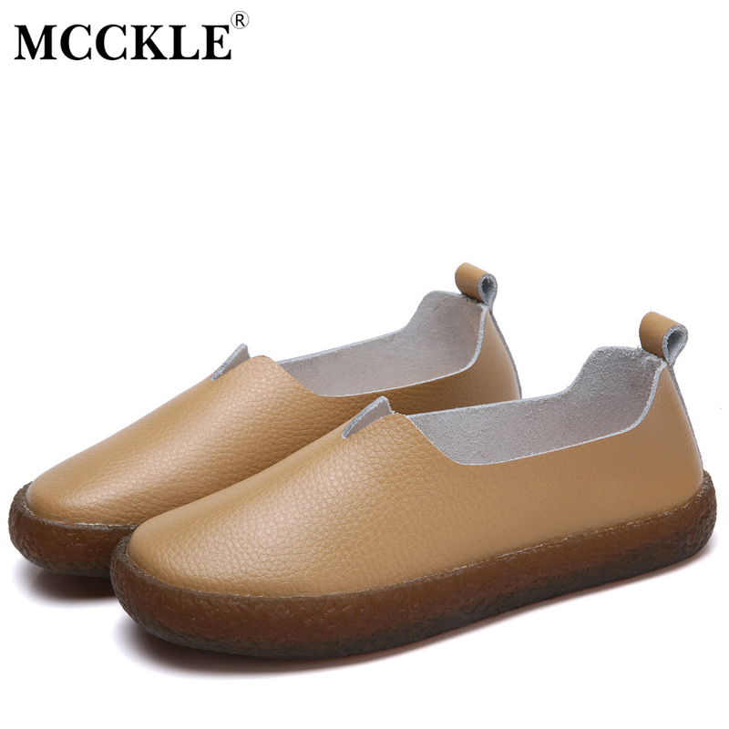 MCCKLE Flats Women Genuine Leather Slip On Loafers Shallow Plus Size Fashion Female Shoes For Ladies Comfortable Solid Footwear new fashion luxury women flats buckle shallow slip on soft cow genuine leather comfortable ladies brand casual shoes size 35 41