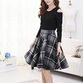 Vintage Plaid Skirts 2016 New Autumn Winter Plus Size A Line Plaid Skirt Women High Waist Casual Woolen Skirt Plaid Saias Skirts