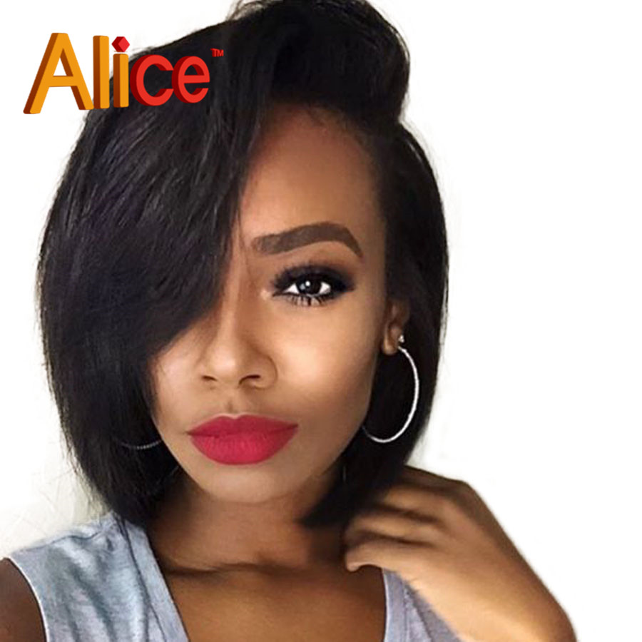 Bob Wig Straight Brazilian Virgin Hair Full Lace Human Hair Wigs For Black Women Lace Front Wig Upart Wig With Baby Hair
