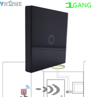 Vhome Smart Home EU 433MHZ Black Glass Panel Switch Shape Remote Control Wall Light Touch Switch