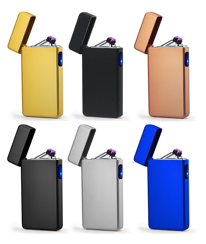 Personality Creative Windproof USB Charging Touch Induction Double Arc Lighters Pulse Plasma Cigarette Lighter Gadgets for Men|Cigarette Accessories| |  - title=