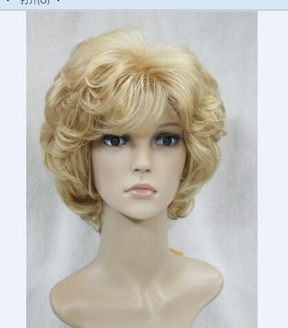 Fashion men New Charm Womens Short Brown Blonde Lady Fibre Kanekalon Fiber hair costume Synthetic Cosplay Medium wigs