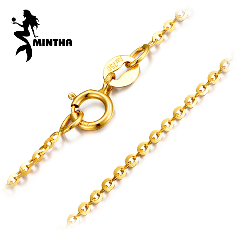 MINTHA Genuine 18K White Yellow Rose Gold Chain Cost Price Sale Pure 18K Gold Trendy Necklace
