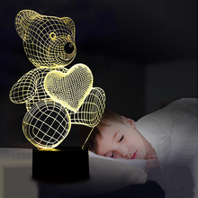 Cartoon Cute Heart Bear Shape LED Lamp