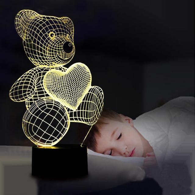 Cartoon Cute Heart Bear Shape LED Lamp