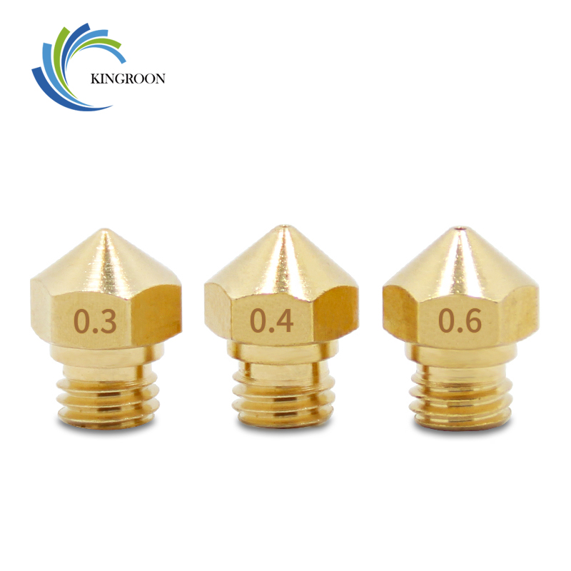 5pcs/lot MK10 Nozzle 0.2mm 0.3mm 0.4mm 0.6mm 0.8mm Copper M7 Threaded Part For Extrusion 1.75mm Filament Brass 3D Printers Parts