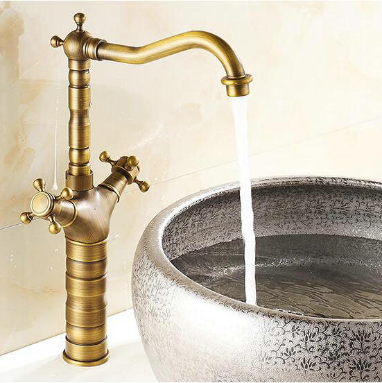 Ordinaire Free Shipping Vintage Kitchen Faucet Antique Finishing Brass Taps Bath  Mixer Basin Faucets Hot And Cold Torneiras Vintage 7307F In Kitchen Faucets  From Home ...