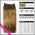 """15 """" - 22 """" Remy cabelo clipes retas em extensões de cabelo de 70gr Ash Blonde # 16"""