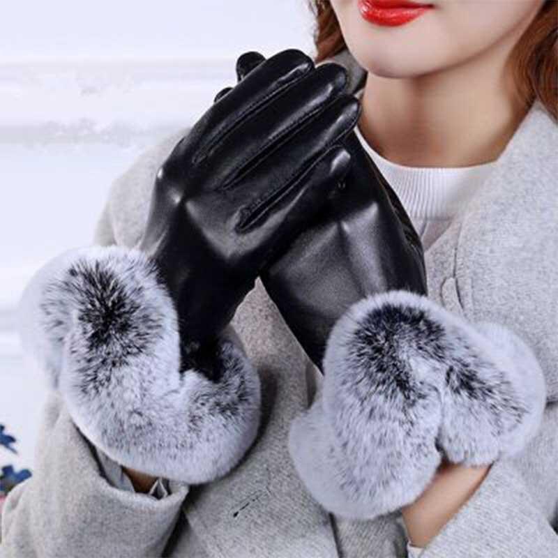 Women Winter PU Leather Gloves with Fur Long Finger Velvet Fleece Warm Thermal Gloves Female Outdoor Waterproof Snow Gloves