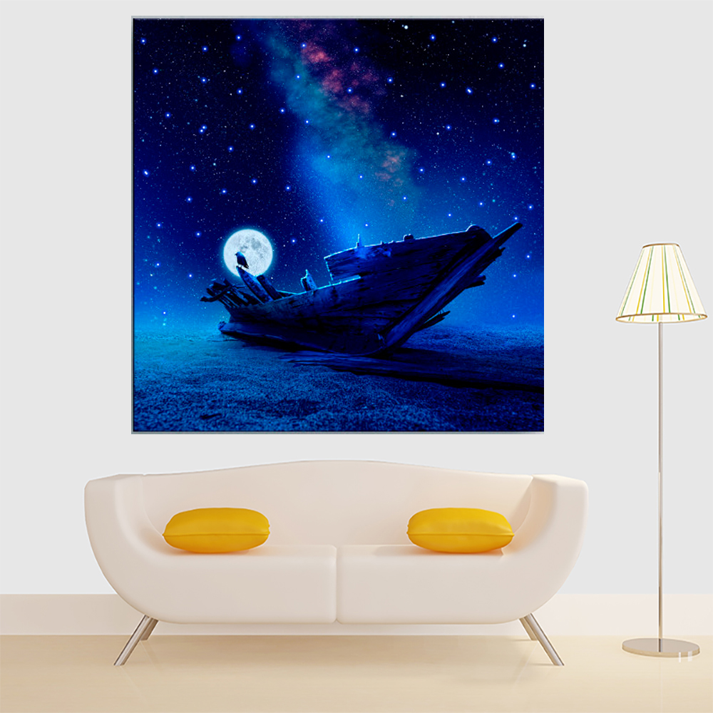LED Canvas Painting Animal Bird with Boat in Moon Under Starry Sky LED Flashing Optical Fiber Picture Home Decoration