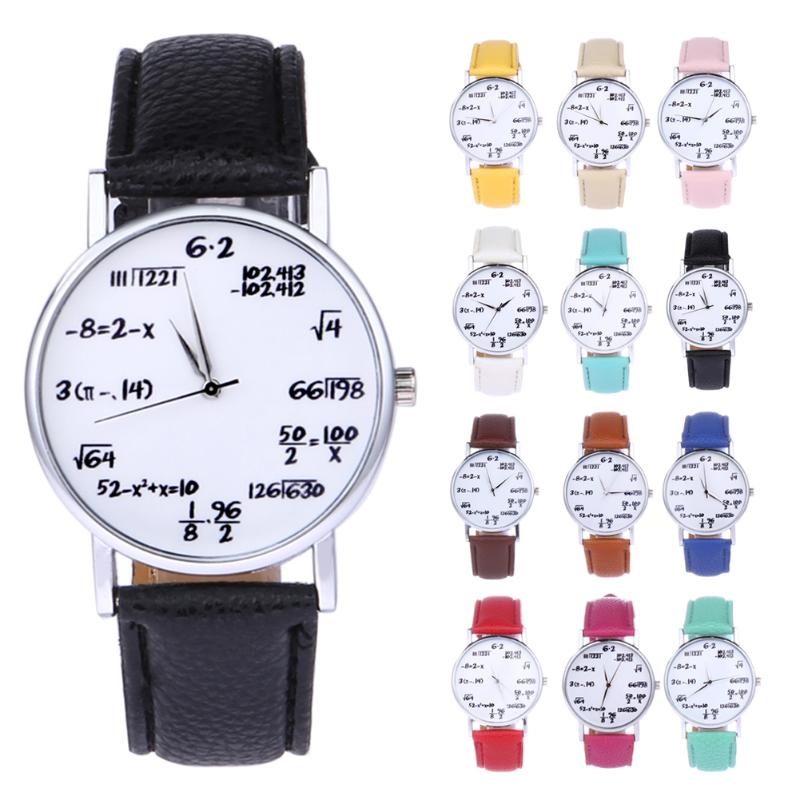 New Arrival Women Watch Mathematical Equation Leather Lovers Quartz Wrist Watch Clock Student Moment Reloj Mujer Montre Femme
