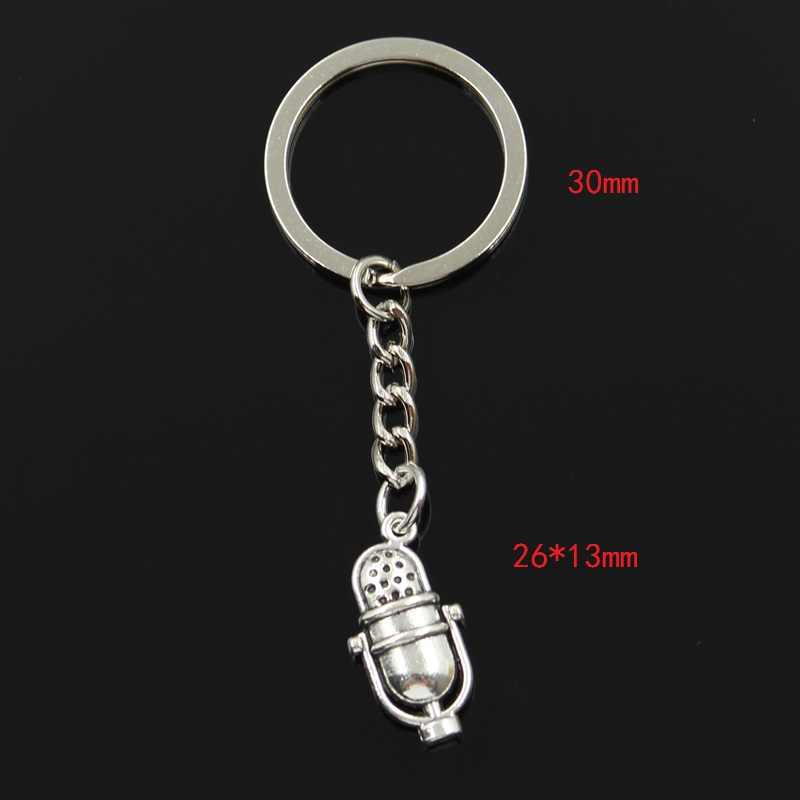 Мода 3 см брелок металлическая подарочная упаковка Ювелирная антикварная бронзовая подвеска с покрытием микрофон 26x13 мм подвеска