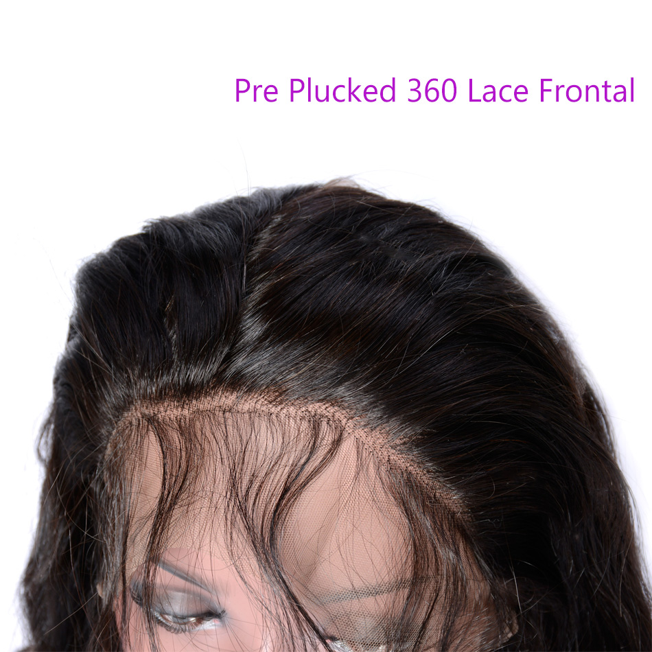 Iwish Pre Plucked 360 Lace Frontal Closure with Baby Hair Body Wave Human Hair Hand Tied Natural Black 1B 1 Piece 10-20 Inch