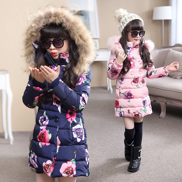 Venda quente 2016 Moda de Médio-longo Casaco de Inverno para Meninas Crianças Roupas Grandes Meninas Impresso Algodão-acolchoado Jacket com Capuz De Pele