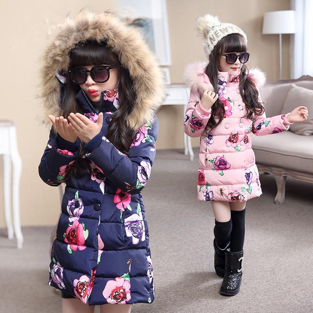 Venta caliente 2016 de La Moda Medio-largo Abrigo de Invierno para Niñas Niños Ropa Big Girls Impreso Chaqueta de Algodón acolchado con Capucha de Piel