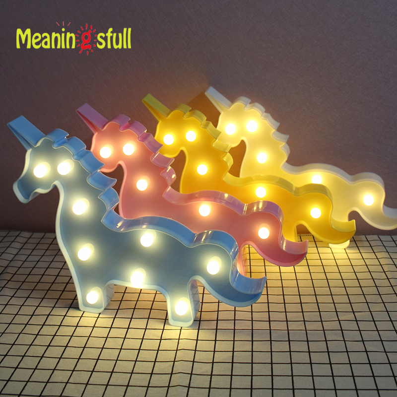 Meaningsfull Lovely 3D Unicorn Night Lights Plastic Marquee Sign baby Led Lamps For Kids Bedroom Party