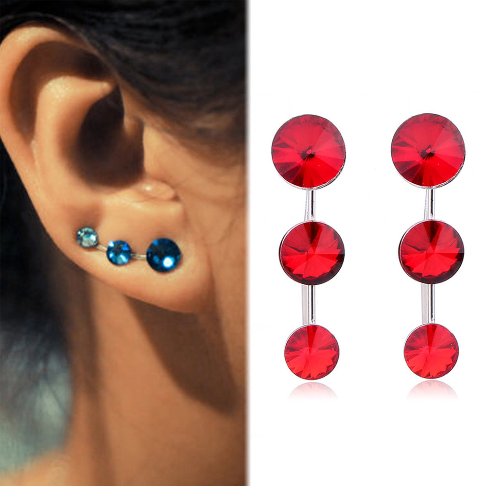 1Pair Red Elegant Three Satellite Stones Coloful Crystal Rhinestone Ear Cuff Clip For Women Vintage Party Earrings Jewelry Gifts золотые серьги по уху