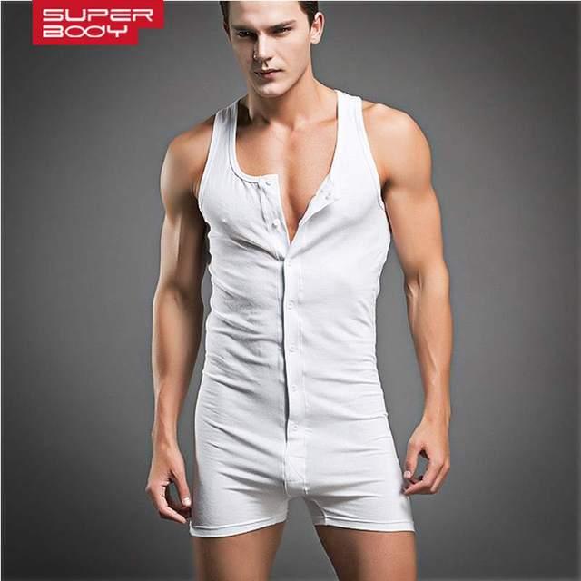 2d6048704ff2e Superbody brand one-piece cotton underwear men compression sleeveless quick  dry sexy mens sleepwear body