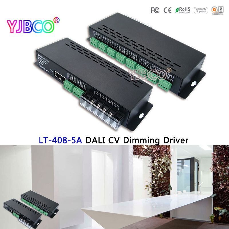 LTECh LT-408-5A DALI Led Dimming Driver,DALI to PWM Led CV Dimming Driver for led strip lights;DC12-24V input;5A*8CH output new dali dimmer led pwm dimming driver rgbw controller 5 24v 4channel 5a current output lt 454 5a dali led driver free shipping
