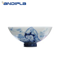 60ML Jingdezhen Boutique Blue and White Porcelain Guanyin Teacup Chinese Ceramic Master Cup Tea Bowl Kung Fu Set Cups Gift Box