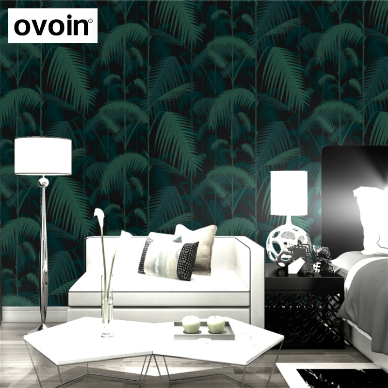 Black tropical jungles palm tree wallpaper modern blue for Tree wallpaper living room