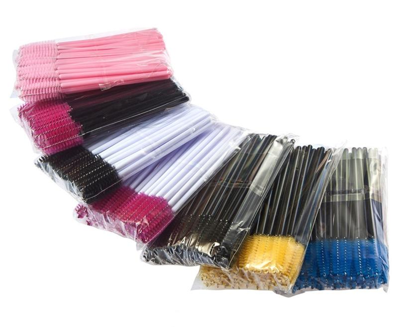 100Pcs pack Plastic One Off Disposable Eyelash Brush Mascara Applicator Wand Brushes Eyelash Comb Cosmetic Brushes