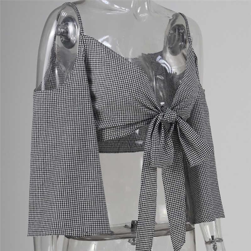 新着レディースブラウスとトップスセクシーな女性コールドトップス女性フレアスリーブ V ネックブラウスシャツ包帯チェック柄ブラウス