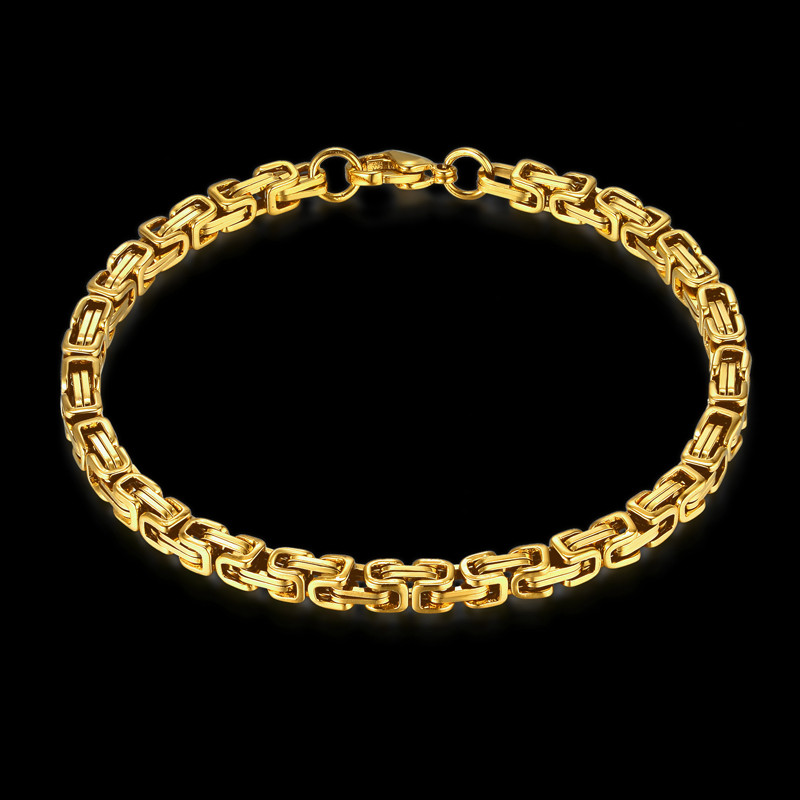 Bracelet Men Jewelry Wholesale Braslet 2018 Male Gold Color Stainless Steel Byzantine Box Chain Link Bracelet For Man Gift