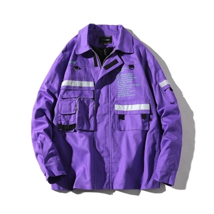 Printemps Vintage veste hommes Cargo violet pilote unisexe veste Streetwear hommes vestes et manteaux Modis hommes Hip Hop veste Outwear