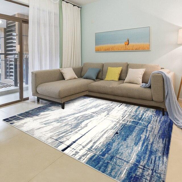Alfombra azul Mediterránea para sala de estar vloerkleed moderno dormitorio  alfombras estudio/comedor nórdico gran alfombra decoración el hogar