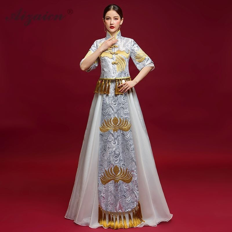 White Chinese Traditional Dress Qipao Modern Long Evening Gown Oriental Style Tassel Embroidery Cheongsam China Slim Dresses