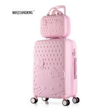 2 шт./компл. красивые 14-дюймовый Hello Kitty косметичка 20 24 28 дюймов багаж путешествия тележка случае женщина прокатки чемодан