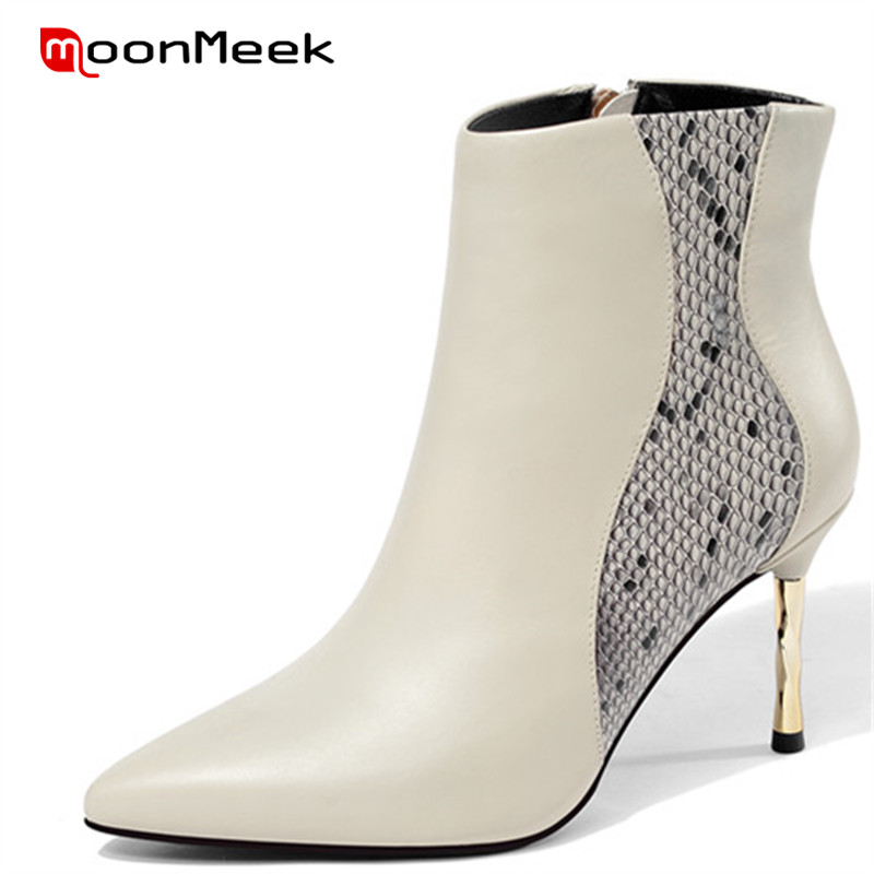 MoonMeek 2018 top quality pointed toe autumn winter ladies boots super high heels ankle boots elegant genuine leather boots цена 2017