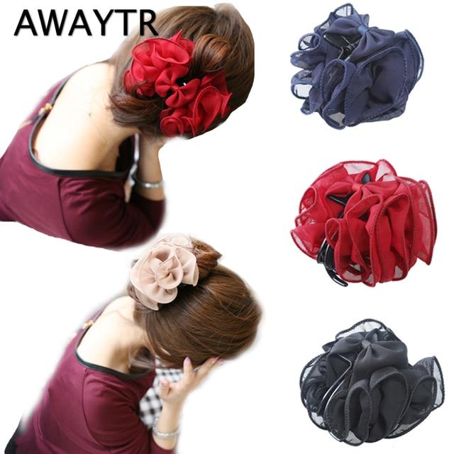 Crab for Hair AWAYTR Chiffon Hair Clips for Women Flower Barrettes Girls Claws Bowknot Hair Accessories for Female Hairpin