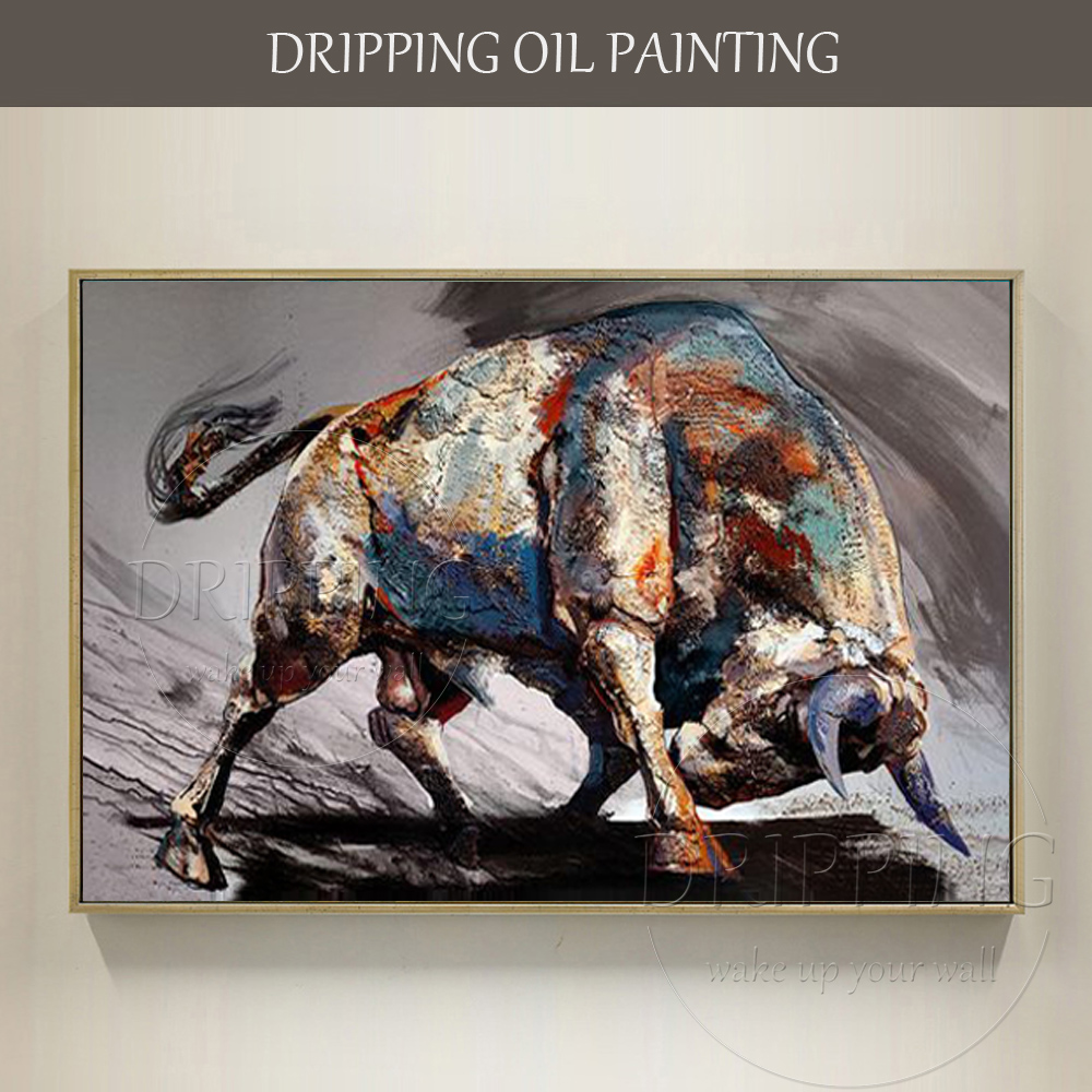 Top Artist Hand painted High Quality Bull Oil Painting on Canvas Strong Bull Ready to Fight Oil Painting for Living Room-in Painting & Calligraphy from Home & Garden    1