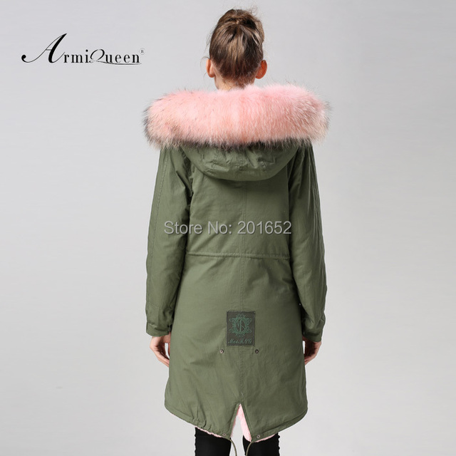 Factory wholesale price Women's Vintage Retro Fur Hooded Military Parka Jacket Coat with pink lined and collar fur mr 5