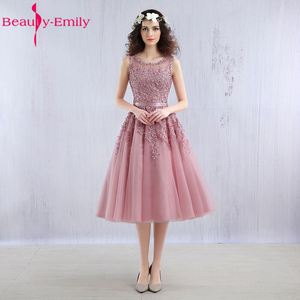 Beauty Emily prom dress 2020 Pink Beaded Lace Appliques elegent Evening Dresses Short new for junior girls homecoming dress