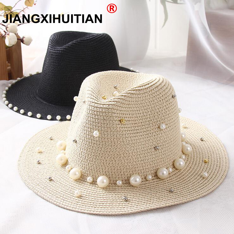 2018 New Spring Summer Hats For Women Flower Beads Wide Brimmed Jazz Panama Hat Sun Visor Beach Hat Flower Pearl Rivet Straw Hat