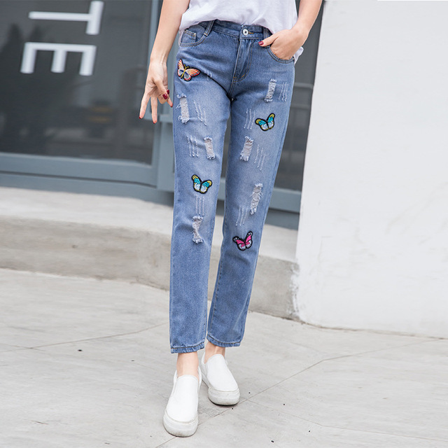 022440a20c688 Beautiful Butterfly Embroidered Jeans Woman High Waisted Boyfriend Jeans  Ripped Plus Size Baggy Vintage Straight Jeans