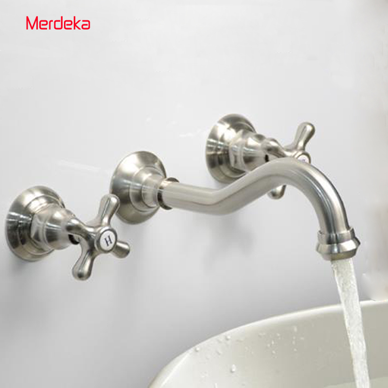 Brush Nickel Split Concealed Basin Mixer Hot and Cold Water Bathroom Faucet Wall Mounted Mixer Tap torneira banheiro free shipping concealed installation black color basin faucet hot and cold water wall mounted basin faucet bf999a
