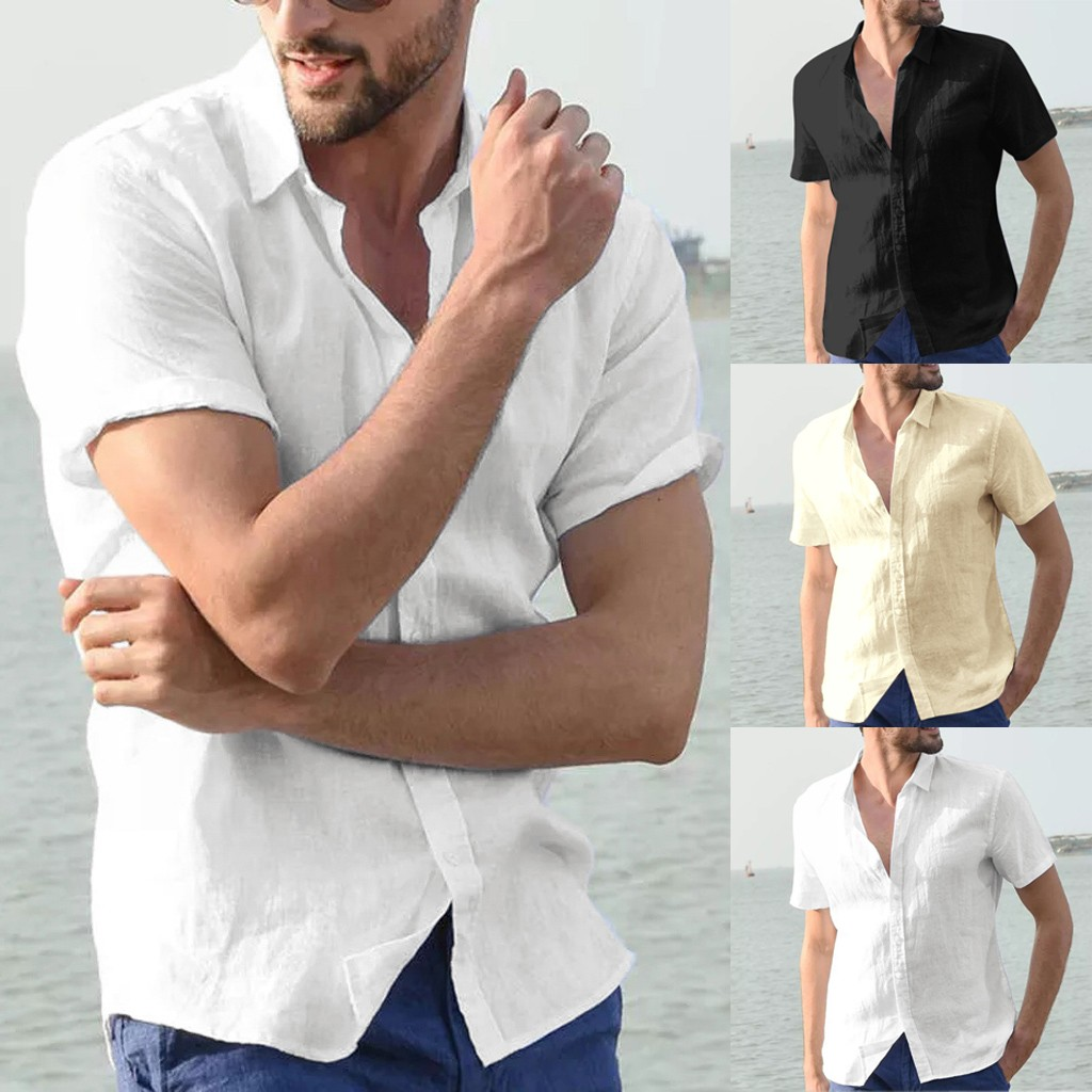 Men's Baggy Cotton Linen Solid Short Sleeve Button Retro Shirts Tops Blouse Support Wholesale And Dropship