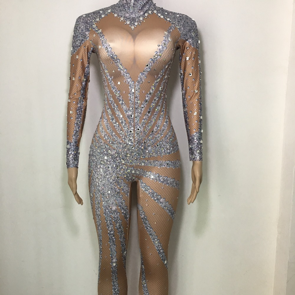 Bright Rhinestones Long Sleeves Jumpsuit Sexy Stones Leggings Stage Performance Wear One Piece Costume Jumpsuit