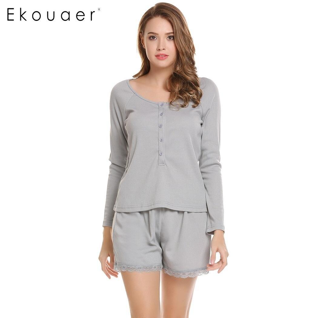 Ekouaer Lace Up   Pajamas   Women O-Neck Long Sleeve Solid Tops and Elastic Waist Shorts   Pajama     Sets   Autumn Casual Sleepwear