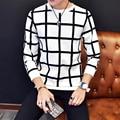 Corea Moda Hombres de La Camiseta 2016 Nueva Llegada de Los Hombres de Manga Larga a cuadros de La Camiseta Más El Tamaño de Cuello Redondo Slim Fit Tee Shirt Homme 5XL-M