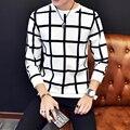 Coreano Moda Camisa de T Dos Homens 2016 Novo Chegada de Manga Longa Homens xadrez T-Shirt Plus Size Gola Redonda Slim Fit Camiseta Homme 5XL-M