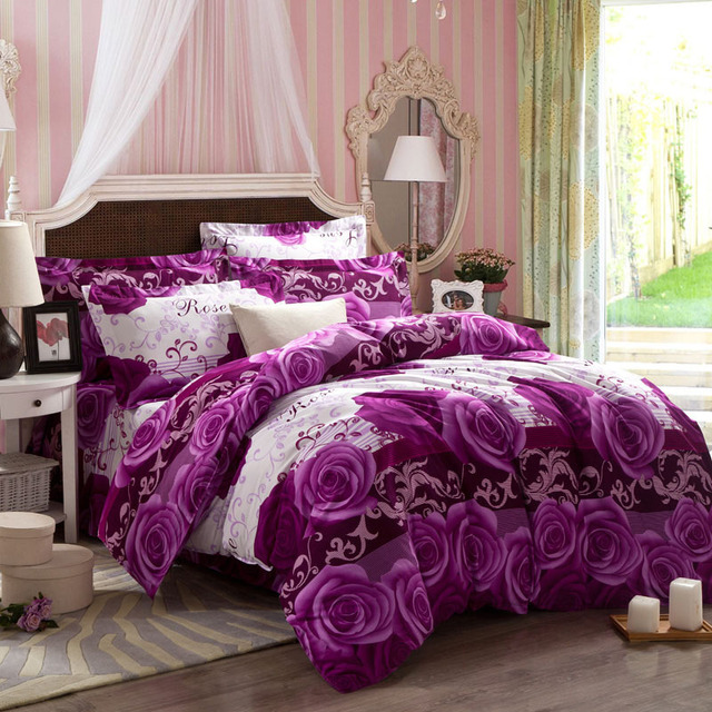 Thick Warm Purple Comforter Sets Hemming Duvet Cover King Size Art Flower Series Bedding