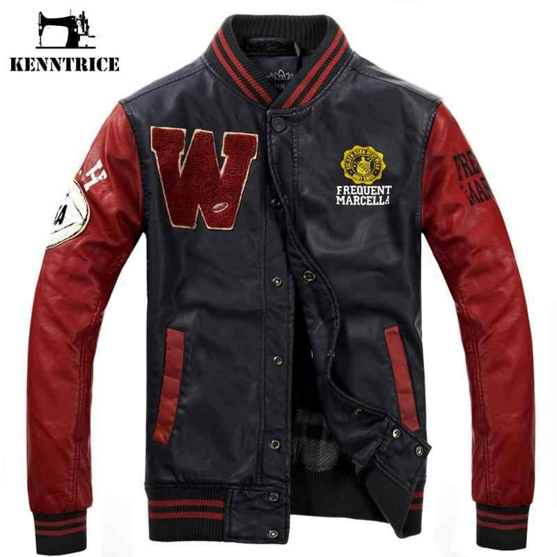 87ff6579355 ... Kenntrice бейсбольная кожаная куртка Колледж Jaqueta Couro мужская  куртка из искусственной кожи уличная куртка высокое качество ...